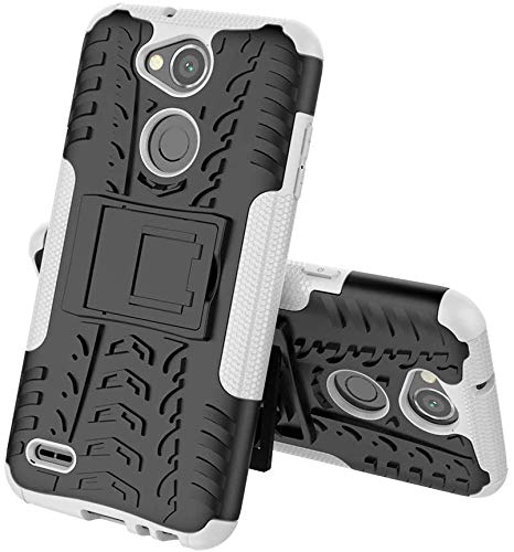 Sunrive Hülle Für LG X Power2, Tasche Schutzhülle Etui Hülle Cover Hybride Silikon Stoßfest Handyhülle Hüllen Zwei-Schichte Armor Design schlagfesten Ständer Slim Fall(Weiß)