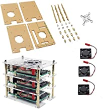 RICHEN 3-Layer Acrylic Shell +3 Pieces Cooling Fan for Raspberry Pi 3B/2B/B+