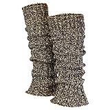 Piarini 1 Paar Grobstrick Stulpen Damen Bein - warme Winter Beinstulpen - One-Size Wolle Multicolour-grau