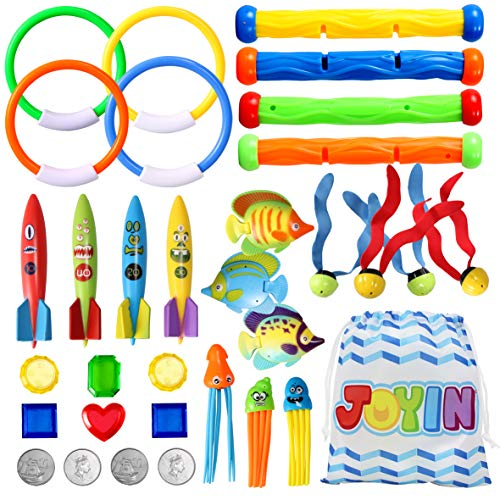 32 Pcs Diving Pool Toys Set with Bonus Storage Bag Includes Diving Rings, Diving Sticks, Toypedo Bandits , Diving Toy Balls, Octopuses, Fishes & Pirate Treasures, Underwater Sinking Pool Toys for Kids