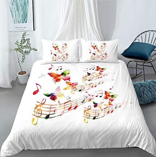 HDBUJ dekbedovertrek van polyester, kreukvrij, twee bijpassende kussenslopen, elegante muzieksymbolen en 3D-digitale print, vlinder, wit