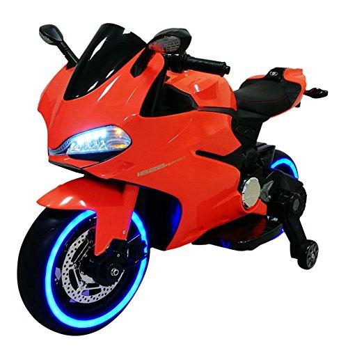 Bakaji Moto Elettrica Bambini 12V Ruote con Luce a LED Fari Anteriori e...