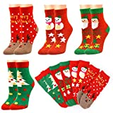 HOWAF 4 Paia Natale Calzini Donna Invernali Unisex Calzini Termici dei Calzini Adulti Calzini Natale Famiglia Calzini Natalizi Antiscivolo per Donne e Ragazze Regalo di Natale