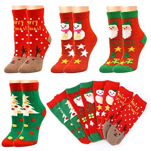 HOWAF 4 Pares Calcetines térmicos Mujer, Navidad Calcetines de Cálidos Felpa Calcetines Pijamas Invierno Mujer calentitos Navidad Algodón Calcetines Mujer Niña