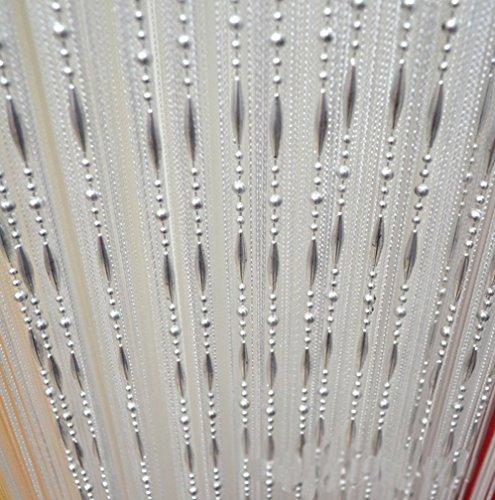 HONG Quaste Perlen Vorhang Kristall Perlen Design mit Gewinde String Tür Vorhang Fenster für Raumteiler Trennwand (100 cm x 200 cm 2 Stück),Weiß
