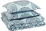 AmazonBasics Comforter Set, King, Sea Foam Medallion, Microfiber, Ultra-Soft
