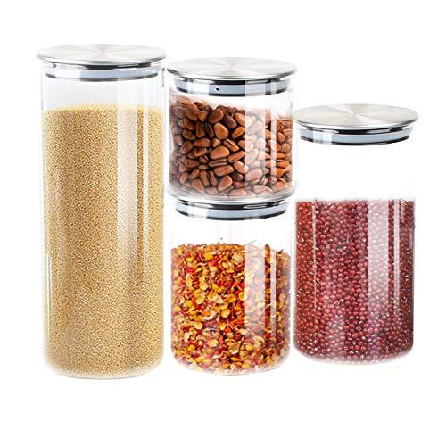 T-SUN Contenitori per Alimenti in Vetro, Contenitori Pasta con Coperchi Ermetici in Acciaio Inossidabile, per la Conservazione Ideale per Zucchero,Biscotti,caffè, Succhi–Senza BPA (Set di 4)