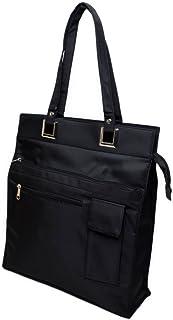 (Marib select) トートバッグ 便利なスマホポケット付き マイクロファイバー素材 フォーマル ユニセックス 底板付き #b816 (ブラック)