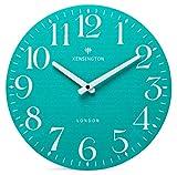 NIKKY HOME Reloj de pared verde azulado con pilas, silencioso, sin tictac, reloj redondo de madera para sala de estar, dormitorio, escuela, aula, 30 x 4 x 30 CM