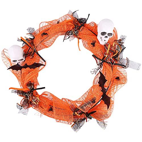 Ghirlanda di Halloween,con luce a LED,ghirlanda di Halloween per porta d'ingresso artificiale ghirlanda da appendere a parete in rattan Decorazioni per la casa Retro decorazione per decorazioni