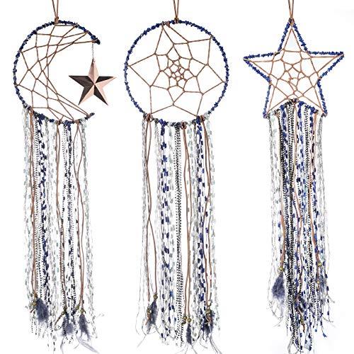 Jetec 3 Pieces Dream Catcher Moon Sun Star Design Blue Handmade Modern Dreamcatcher for Wall Hanging Home Decoration