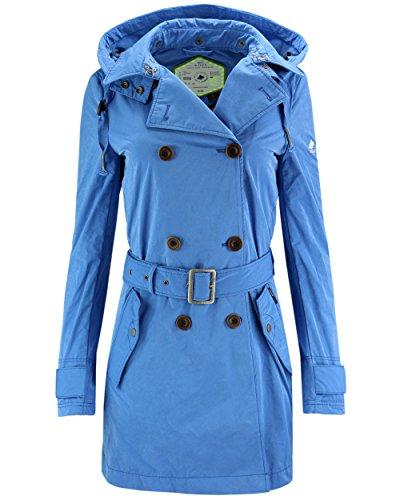 khujo Damen Jacke Parana Trenchcoat mit Kapuze blau Farbe blau, Größe L