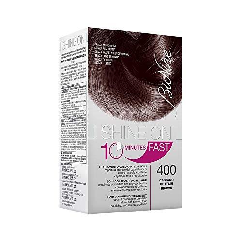 BioNike Shine On Fast Trattamento Colorante Capelli (Tono Castano 400) - 1 flacone x 60 ml. + 1 tubo x 60 ml. (Totale 120 ml.)