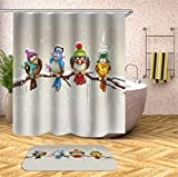 Fansu Cortina de Ducha Antimoho Impermeable Antibacteriano100% Poliéster, 3D Pájaro Impresión Diseño Transparente Cortina de Infantil Baño Ducha Bañera con 12 Anillos (180x180cm,D)