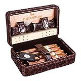 CRITIRON Reisehumidor Kassette Tragbarer Humidor für 4 Zigarren aus Leder Zedernholz Interieur für