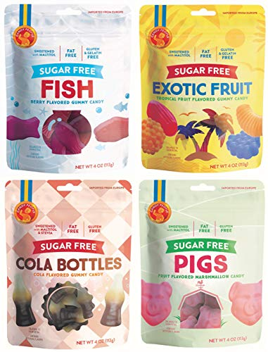 Candy People Sugar-Free Swedish Gummy Candy – Gluten-Free, Fat-Free Gummies – Cola Bottles, Marshmallow Pigs, Exotic Fruit, Fish