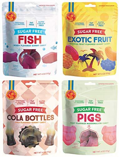 Candy People SugarFree Swedish Gummy Candy – GlutenFree FatFree Gummies – Cola Bottles Marshmallow Pigs Exotic Fruit Fish