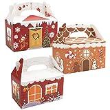 BELLE VOUS Boite Cadeau Noel (Lot de 24) - 15 x 9 x 9 cm - Boite Carton avec Poignées dans 3 Designs, 8 Pcs de Chaque - Boite à Assembler pour Gâteaux, Bonbons, Truffes et Caramels