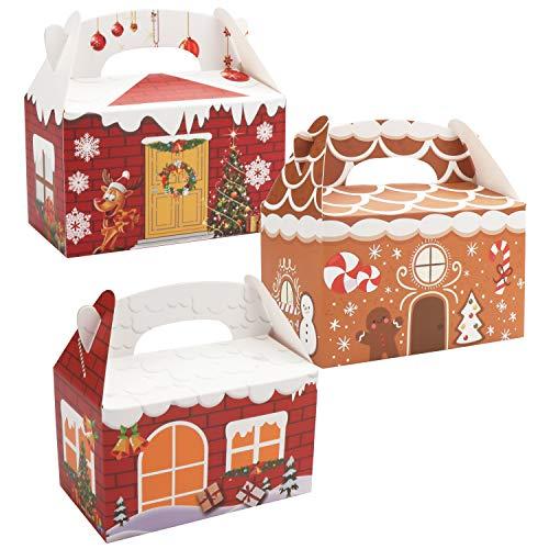 Belle Vous Caja para Regalo de Navidad (Pack de 24) 15,3x15,3x8,8 cm- Caja de Chuches Regalo en Forma de Casa con Asa - 3 Diseños, 8 Piezas C/U - Caja Navidad Autoensamblado, Dulces, Trufas, Galletas