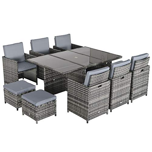 Outsunny Outdoor 11pc Rattan Garden Furniture Patio Dining Set 10-seater Cube Sofa Weave Wicker 6 Chairs 4 Footrests & 1 Table Mixed Grey