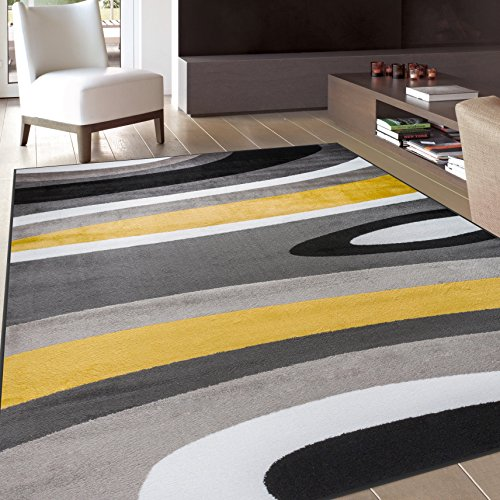 """Rugshop Abstract Contemporary Modern Area Rug, 3'3"""" x 5'3"""", Yellow"""
