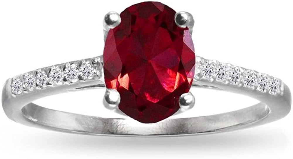 GemStar USA Sterling Ranking TOP18 Silver Synthetic latest Topaz Oval Ruby White and