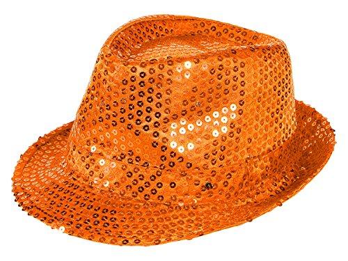 Alsino LED Partyhut Glitzer Fasching (Th-49) - Farbe: orange, Kopfumfang: 58 cm - Bogart Trilby Hut