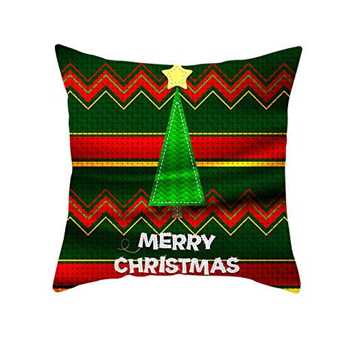 Socoz Fundas de cojín navideñas de lino, 50 x 50 cm, color dorado, poliéster, verde, rojo