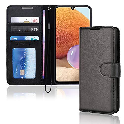 TECHGEAR Funda tipo cartera para Samsung A32 5G (piel sintética, cierre magnético, función atril, tarjetero, correa de muñeca), color negro