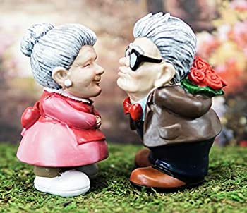 Ebros Gift  Roses and Smooches  Mr and Mrs Cruise Romantic Senior Couple Kissing Statues Set of 2 Home Decor Figurines Anniversary Valentines Day Old Fashioned Grey Haired Vintage Lovers