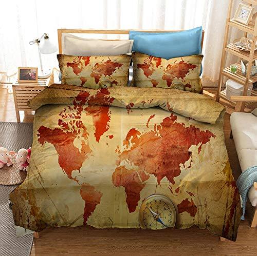 Juego de cama con funda nórdica con mapa del mundo, mapa del mundo retro 3D, damas adultas, estilo nostálgico, suave y cómodo, Cama individual cama doble textiles para el hogar-D_135x200cm (2pcs)