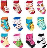 HBselect 12 Paires de Chaussettes Bébés de Non-dérapage de Fille d'Enfant en Bas âge de Coton Mignon Avec des Poignées, Chaussettes Anti-dérapantes,Petits Picots en bas pour les Bébés de 12 à 36 mois