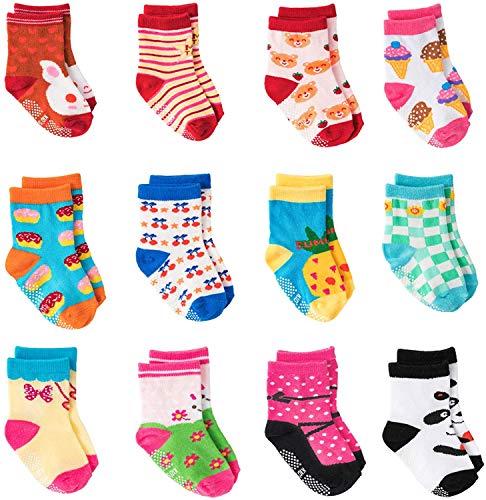 HBselect 12 Paar Socken Kinder Baby Jungen Mädchen Baumwolle elastische formstabile Kindersocken