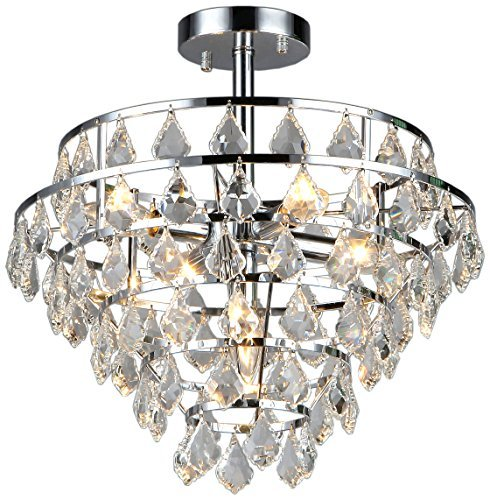 Whse of Tiffany RL1350/5 Victory 1-Light Chrome Crystal Flush Mount by Whse of Tiffany