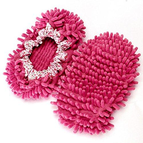 Unbekannt Accmart Komfortable Wischmop-Bodenreiniger in Form von Hausschuhen Hot Pink