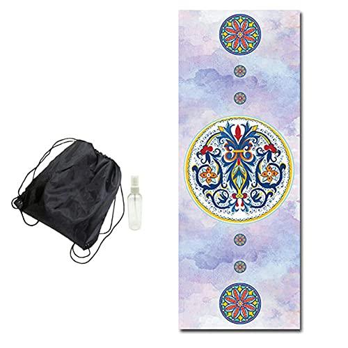 POMNEFE Estera de Yoga Antideslizante de Caucho Natural 1,5 MM Toalla de Pilates de impresión Esterilla Deportiva Femenina portátil Plegable absorción del Sudor