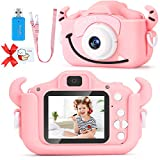 SDYXJ Upgrade Kids Selfie Camera, Christmas Birthday Festival Gift for Toddler Age 3-10 Years Old, Cute Horn 1080P HD 2 Inch Digital Video Camcorder Girl Children with 32GB SD Card-Pink