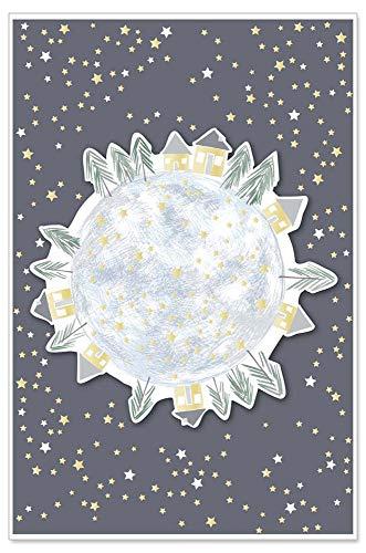 ARTEBENE Grußkarte Geschenkkarte Gutscheinkarte Weihnachtskarte Weihnachten Präge Xmas Weltkugel Glitter 3D