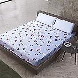 XGguo Protector de colchón de bambú Funda de colchón y Ajustable Sábana de Cama Impresa Funda Protectora cepillada-5_100X200 + 25cm