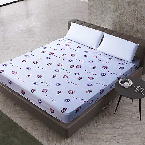DSman Protector de colchón de Rizo algodón y Transpirable Impresión de sábanas a Prueba de Agua y a Prueba de Polvo-3_140cmX200cmX30cm
