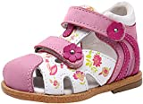 Ahannie Infant Boys Girls Genuine Leather Sandals with Arch Support,Unisex Baby Closed Toe Summer First Walkers Shoes(Infant/Toddler)(2019-4-Pink)