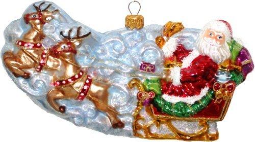 Christbaumschmuck Weihnachtskugel Night before Christmas Schlitten Weihnachtsmann Glas mundgeblasen handbemalt