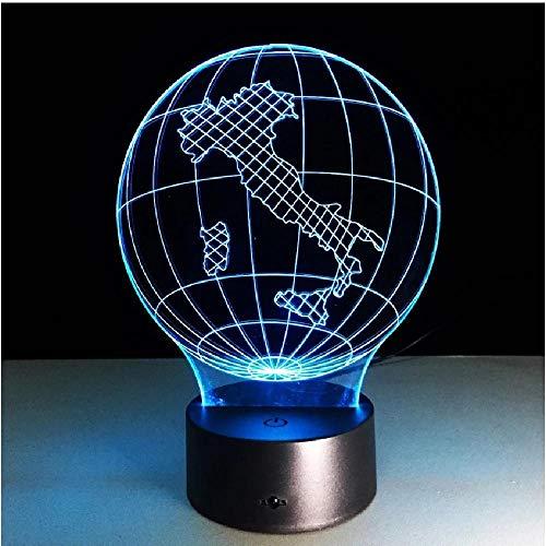 Mapa de la tierra Luz 3D Lámpara LED visual 7 colores Seta Usb Dormitorio Lámpara de escritorio pequeña 7 colores que cambian Luces de noche LED Deco