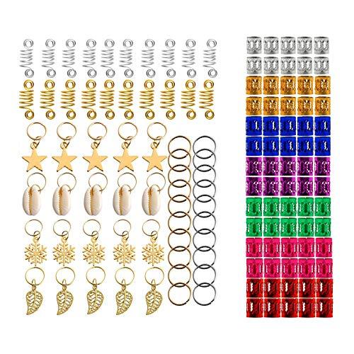 Colcolo 130pcs Hair Braid Clips Rings Metal Dreadlocks Accessories for