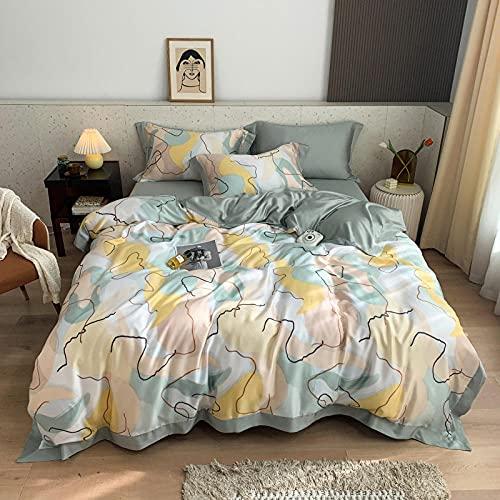 WAlAH Textiles del hogar,American 60 Piezas de impresión Digital de Doble Cara Seda de Cuatro Piezas de Seda de Cuatro Piezas de Seda de Seda de Seda de Seda de 2,0 m Suministros de Cama-Luz_Reina