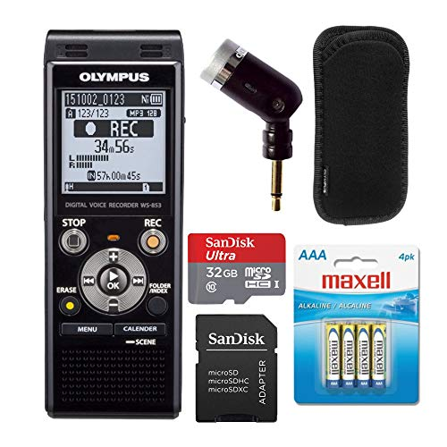Olympus WS-853 Digital Voice Recorder (Black) Bundle with Olympus ME-52 Noise Cancel Microphone, Batteries and Memory Card (4 Items)