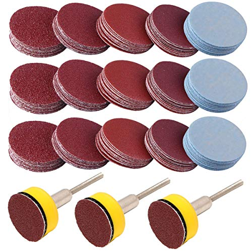 300PCS 1 inch Sanding Discs Hook and Loop, VÉZAAR Grinding Discs with Sticker Backer Plate 3mm Shank Polishing for Sander Grinder Drill Rotary Tools Sandpaper Assortment Grit of 100 180 240 1500 3000