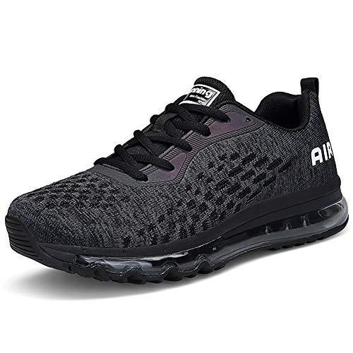 MIMIYAYA Unisex Herren Damen Sportschuhe Laufschuhe Bequeme Air Laufschuhe Schnürer Running Sportschuhe BLACKWHITE38