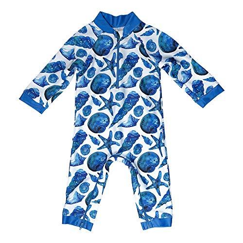 Honeysuckle Swim Company Baby Boy Swimsuit - Certified UPF 50+ - Easy Inseam Diaper Zipper (18-24, Cute As Shell)