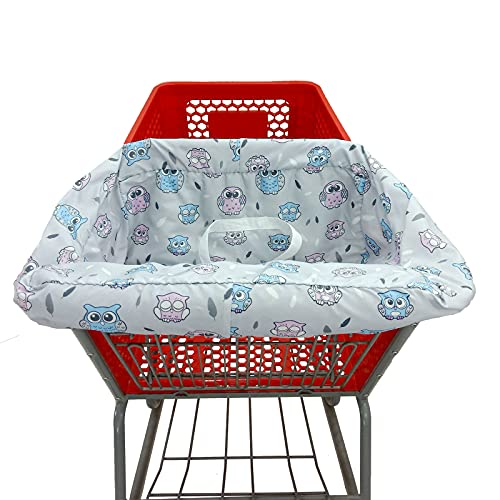 Baby Shopping Cart Cover /2-in-1 High Chair Cover/Machine Washable/Fits Restaurant Highchair/Portable with Free Carry Bag(Easy Version, Owl)